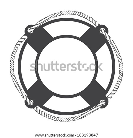 Life buoy on white background - stock vector