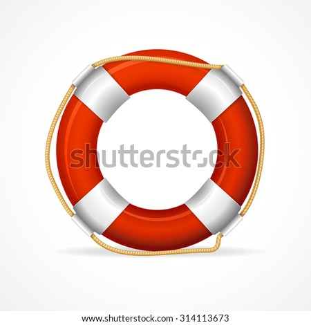 Life Buoy Ring Red. The symbol of the life-saving. Vector illustration - stock vector