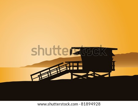 Life guard tower in Los Angles California. - stock vector