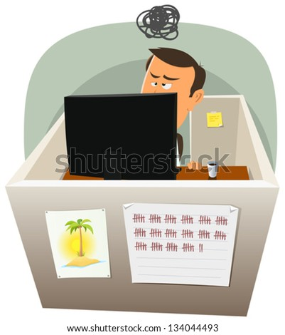 Life In The Cube/ Illustration of a cartoon office employee man lifestyle, working frustrated in a boring job in slump time and inside small confined open space cube setting - stock vector