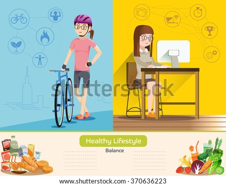 Life is a balance between work and exercise.Women's work and exercise.Proper nutrition.Working women and daily routine.Health care of people in the city.Life distant disease.Graphic and vector EPS 10. - stock vector