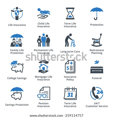 Life Protection Icons - Blue Series  - stock vector