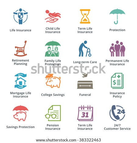 Life Protection Icons - Colored Series - stock vector