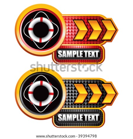 life ring on gold arrow nameplates - stock vector