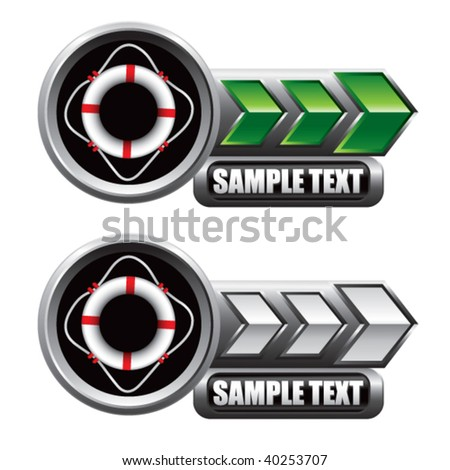 life ring on green and white arrow nameplate banners - stock vector