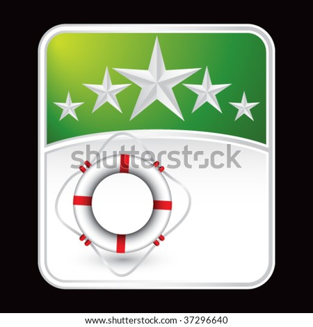 life ring on green star background - stock vector