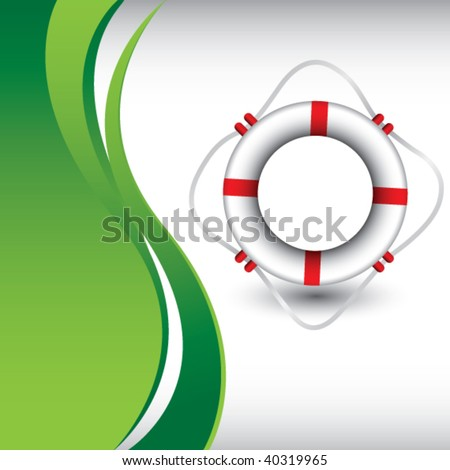life ring on green wave background - stock vector