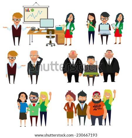 life situations. businessman in action. vector illustration. - stock vector