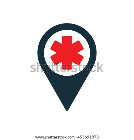 life star medical pin location icon on white background - stock vector