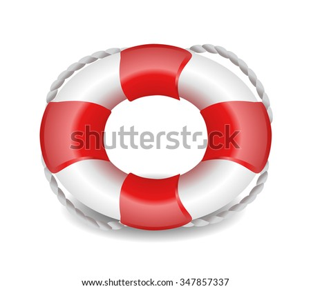 lifebelt, lifebuoy isolated on white red and white - stock vector
