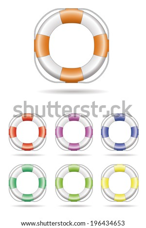 Lifebelt Vector Illustration. Lifebelt logo design element, seven color variations. - stock vector