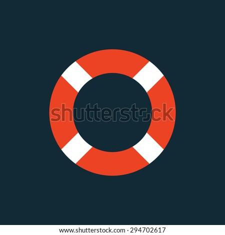 Lifebuoy flat vector icon, lifebelt modern minimal symbol - stock vector