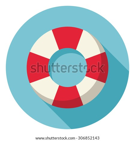 Lifebuoy flat web icon. - stock vector