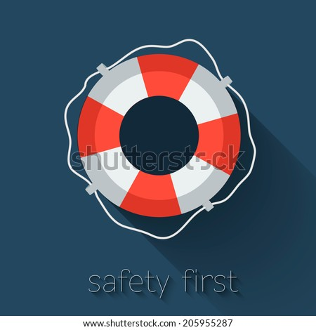 Lifebuoy icon in flat style. Vector illustration. - stock vector