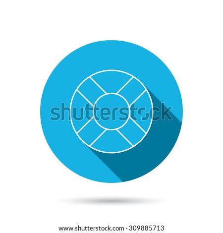 Lifebuoy icon. Lifebelt sos sign. Lifesaver help equipment symbol. Blue flat circle button with shadow. Vector - stock vector