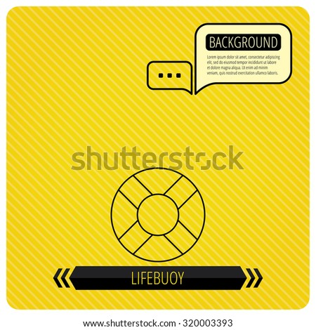 Lifebuoy icon. Lifebelt sos sign. Lifesaver help equipment symbol. Chat speech bubbles. Orange line background. Vector - stock vector