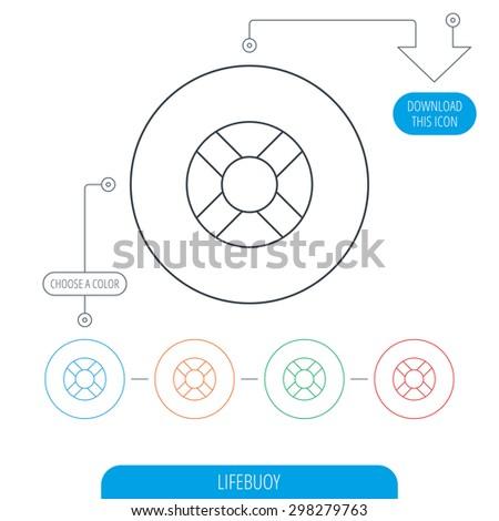 Lifebuoy icon. Lifebelt sos sign. Lifesaver help equipment symbol. Line circle buttons. Download arrow symbol. Vector - stock vector