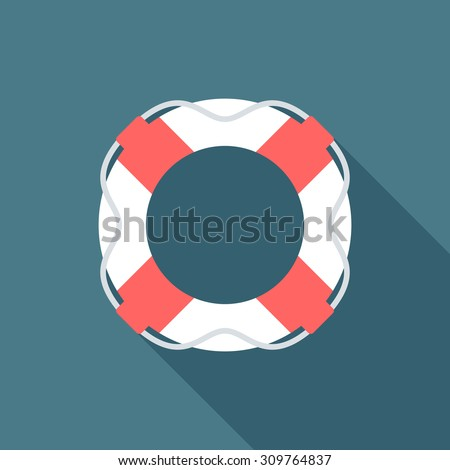Lifebuoy icon with long shadow. Flat design style. Lifebuoy silhouette. Simple icon. Modern flat icon in stylish colors. Web site page and mobile app design element. - stock vector