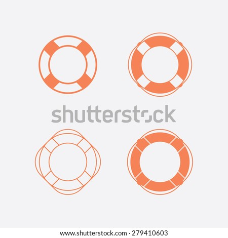 Lifebuoy / life preserver icon set. Vector illustration - stock vector