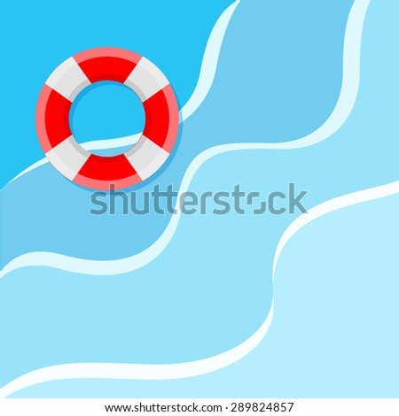 Lifebuoy on the water. Flat style vector illustration - stock vector