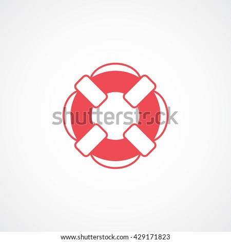 Lifebuoy Red Icon On White Background - stock vector