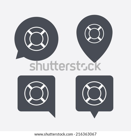 Lifebuoy sign icon. Life salvation symbol. Map pointers information buttons. Speech bubbles with icons. Vector - stock vector
