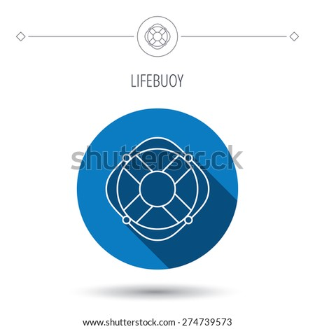 Lifebuoy with rope icon. Lifebelt sos sign. Lifesaver help equipment symbol. Blue flat circle button. Linear icon with shadow. Vector - stock vector