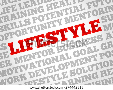 Lifestyle word cloud, business concept - stock vector
