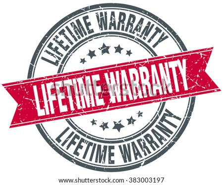 lifetime warranty red round grunge vintage ribbon stamp - stock vector