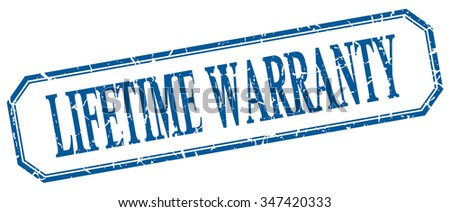 lifetime warranty square blue grunge vintage isolated label - stock vector