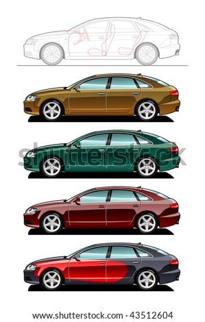 Liftback. part of my collections  of Car body style. Simple gradients only - no gradient mesh - stock vector