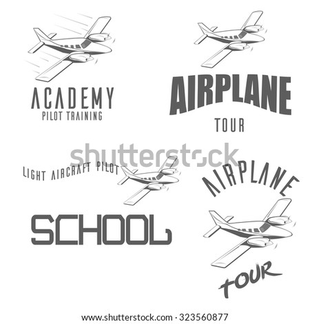 Light airplane related emblems, labels and design elements - stock vector