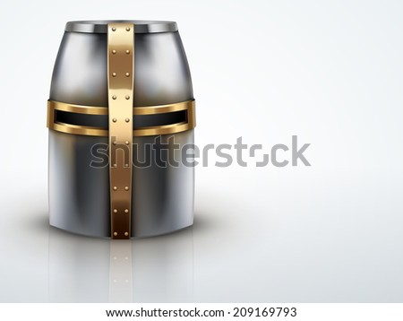 Light Background Crusader Metallic Knight's Helmet with a golden cross. Editable Vector illustration. - stock vector