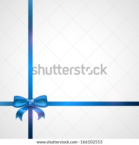 Light background with blue ribbon and bow. - stock vector