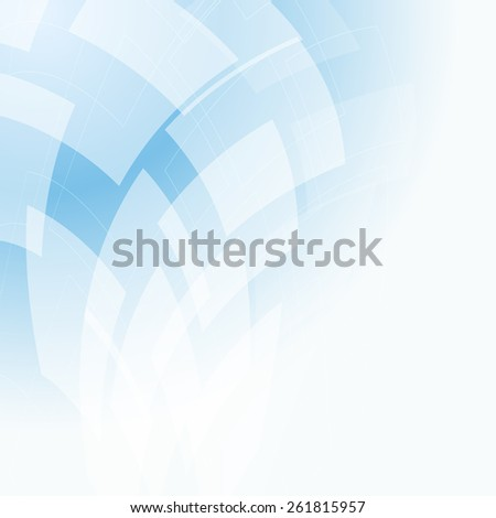 light blue background with flying transparent shapes - stock vector