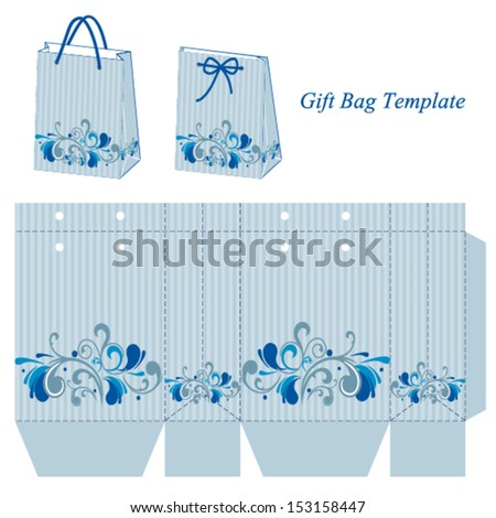 Light blue bag template with stripes and floral pattern. Vector illustration. - stock vector