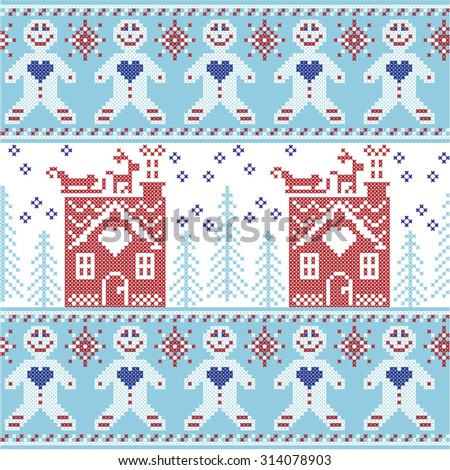 Light blue, dark blue and red Scandinavian Nordic Christmas seamless pattern with gingerbread man , stars, snowflakes, ginger house, trees, xmas  gifts, reindeer, sleigh, snow in cross stitch    - stock vector