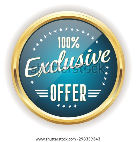 Light blue exclusive offer button with gold border on white background - stock vector