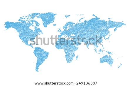 light blue grungy map of the world - vector continents - stock vector