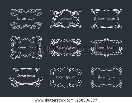 Light Blue Hand-drawn elements. Monogram rectangle frame.  Set Graphic Design. - stock vector
