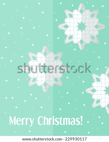 Light blue holiday Christmas card with paper cut snowflakes and snowfall - stock vector