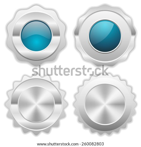 Light blue silver badge collection on white background - stock vector