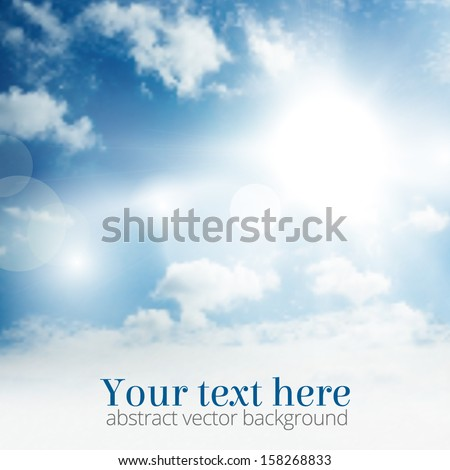Light blue sky with clouds and summer sun burst. Vector illustration. - stock vector