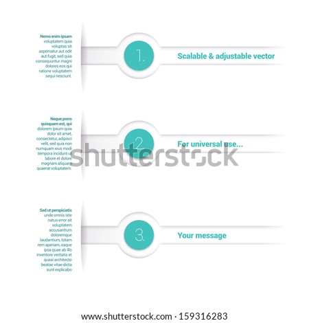 Light blue, turquoise edition of an adjustable vector composition of  an abstract geometric paper background based list elements, content and menu field for numbering or lettering, for universal use  - stock vector