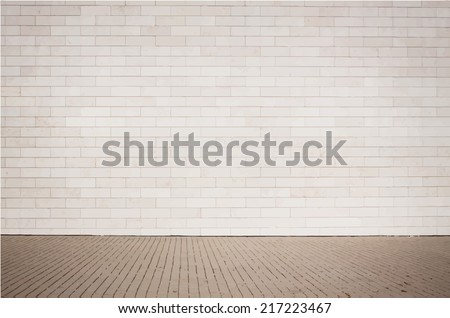 Light brown brick wall texture with walkway. Vector illustration - stock vector