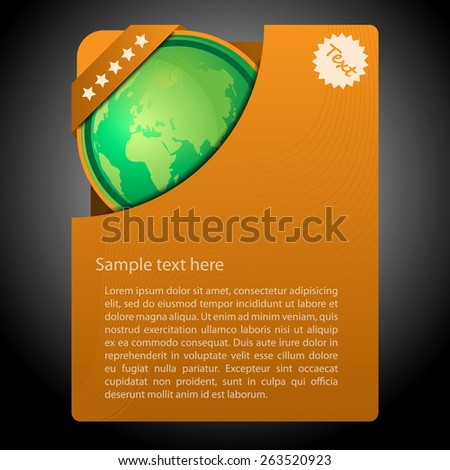 Light Brown Simple Content Folder Creative Design Template with Green Earth Globe Illustration - stock vector