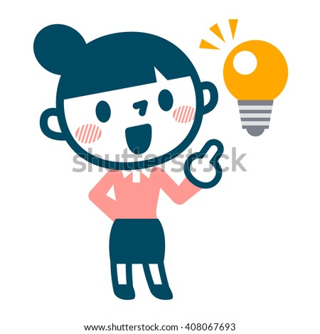 Light bulb and a young woman - stock vector