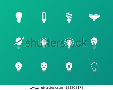 Light bulb and CFL lamp icons on green background. Vector illustration. - stock vector