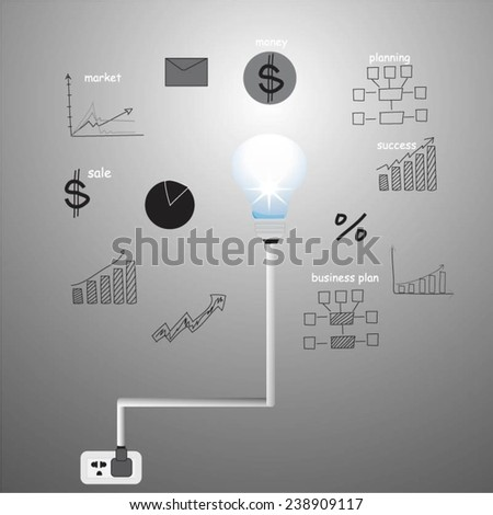 Light bulb and drawing business strategy - stock vector