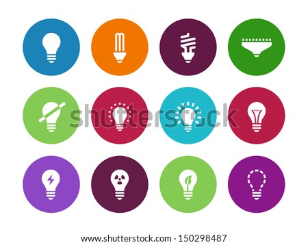 Light bulb and LED lamp circle icons on white background. Vector illustration. - stock vector